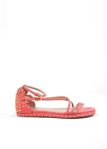 Pink Suede Gold Studded Strappy Gladiator Flat Alaia Sandals Sideview
