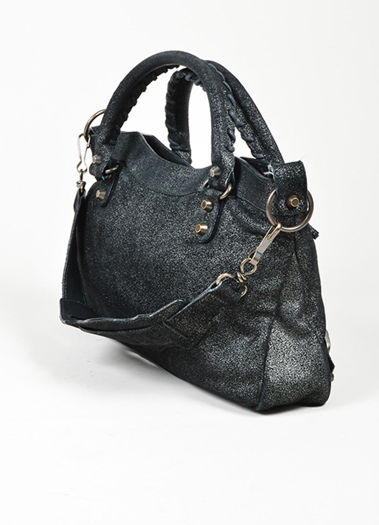 "Black Balenciaga  Leather Glitter Coated ""Classic First Satchel"" Bag Sideview"