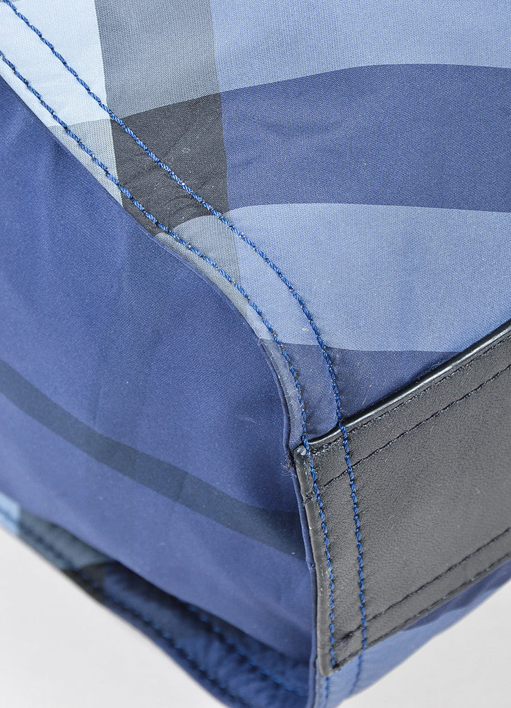 "Burberry Prorsum Blue Plaid ""Check Packable"" Tote Bag Detail"