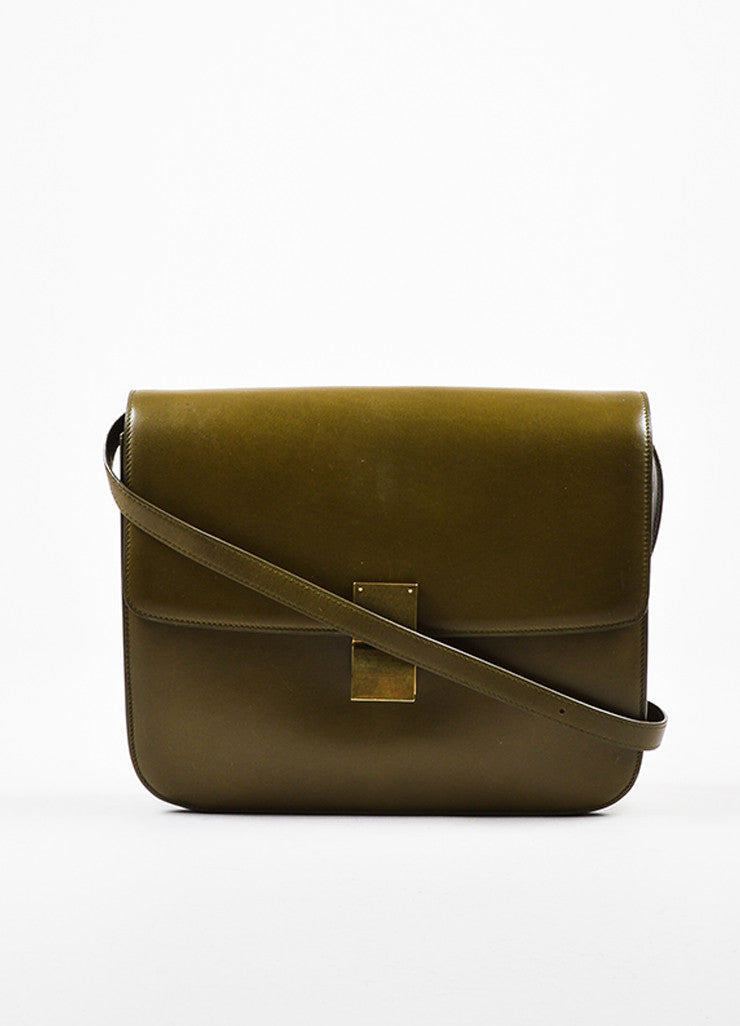 "Celine Olive Green Leather ""Large Box"" Shoulder Bag Frontview"