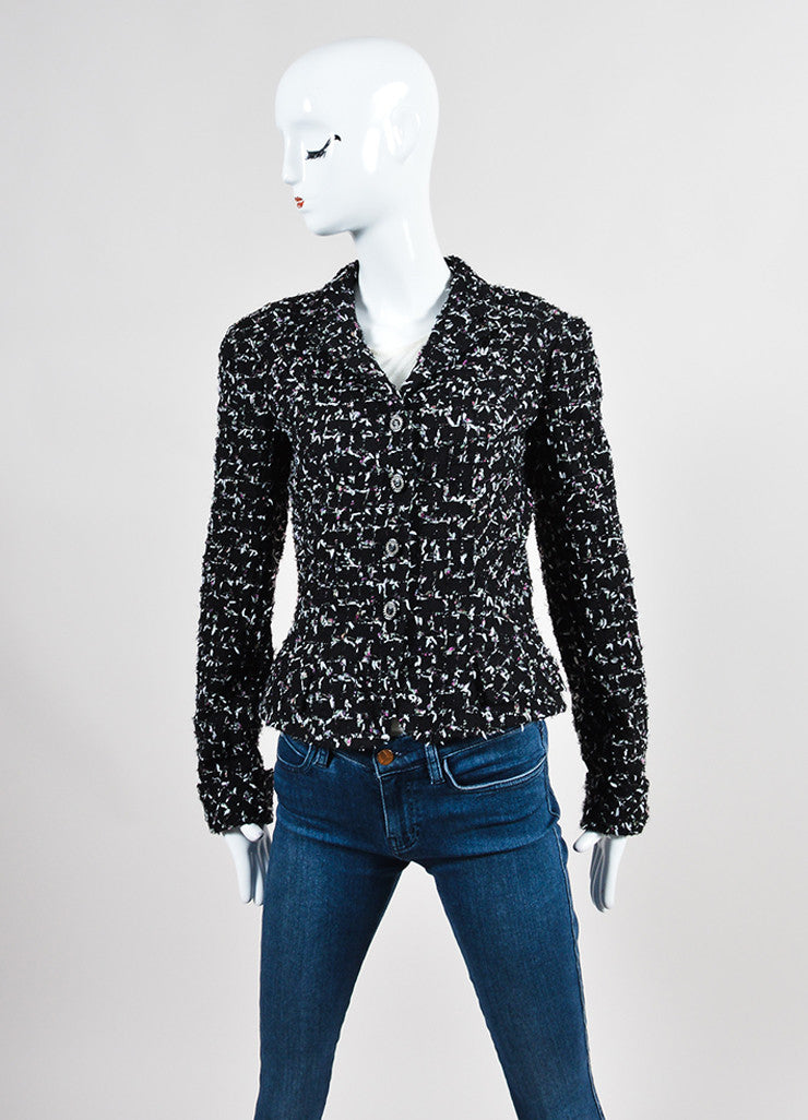 Black Multicolor Chanel Wool Tweed Tie Embellished Jacket Frontview 2