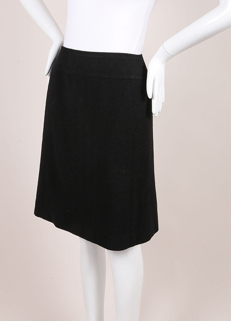 Chanel Black Wool Boucle Knit A-Line Skirt Sideview