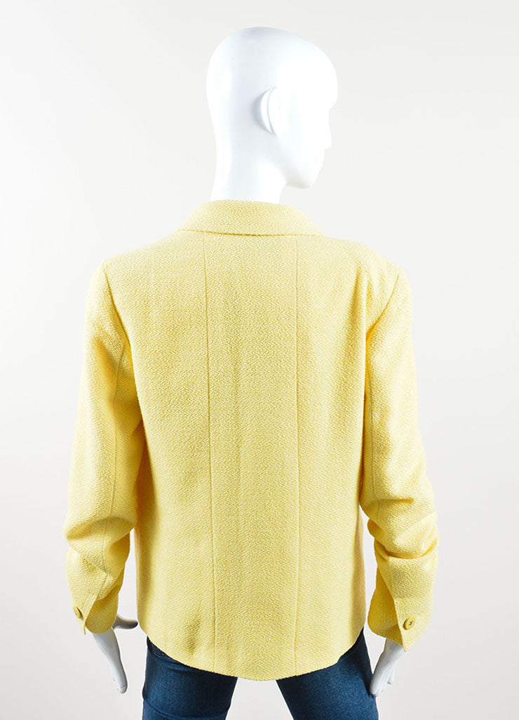 "Chanel Yellow Wool and Cotton ""CC"" Double Breasted Blazer Backview"