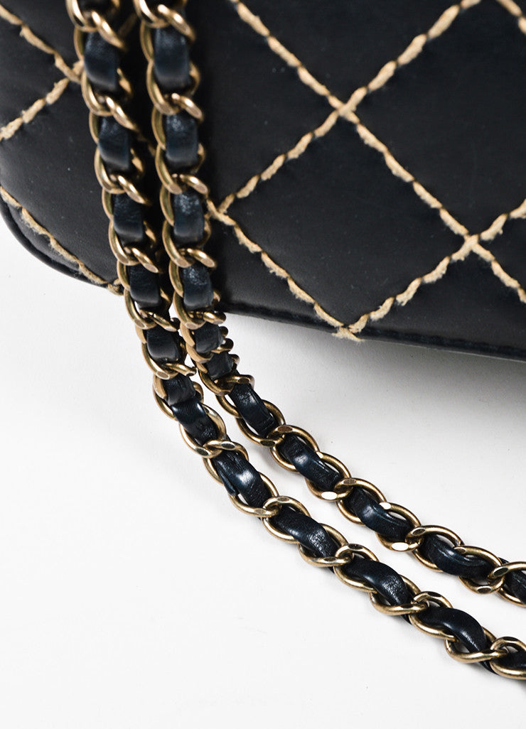 "Chanel Black Quilted Leather Chain Strap ""Wild Stitch Medium Flap"" Bag Detail 2"