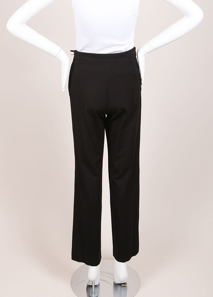 Chanel Black Wide Leg Gripoix Embellished Stretch Pants Backview