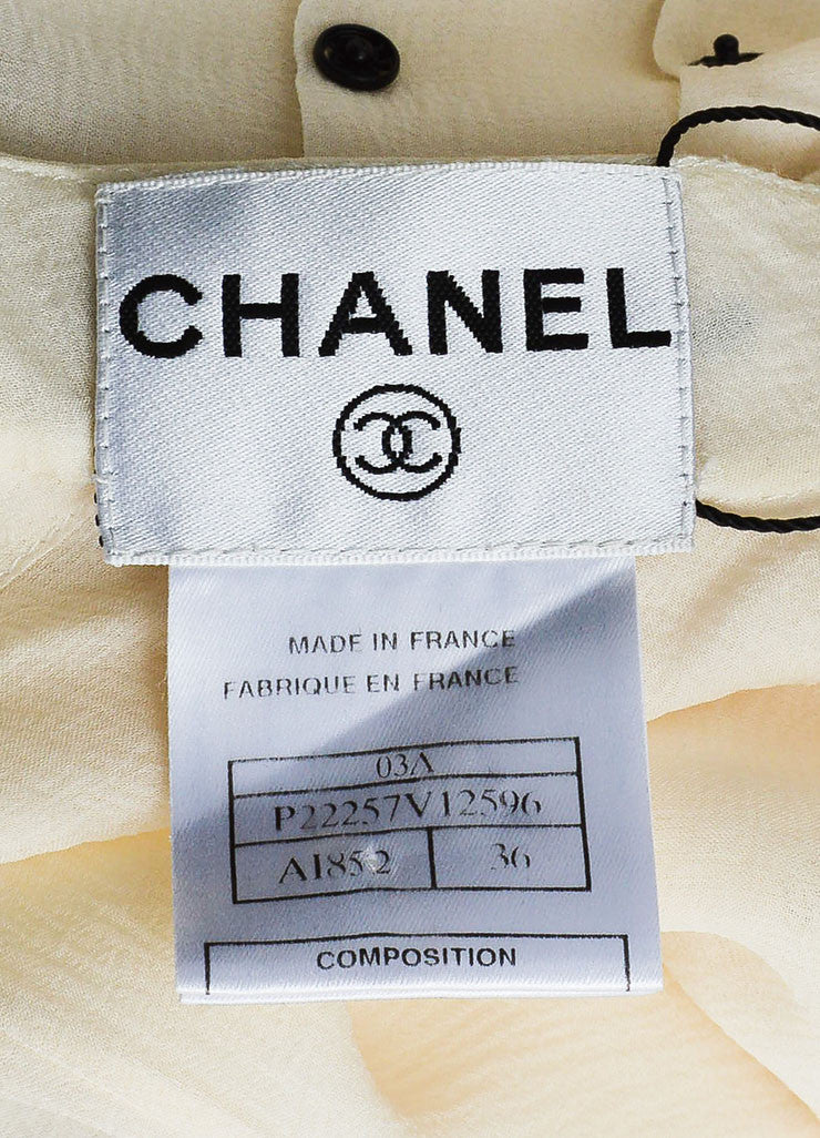 Chanel Cream and Black Silk Ringlet Detail Long Sleeve Round Neck Blouse Brand
