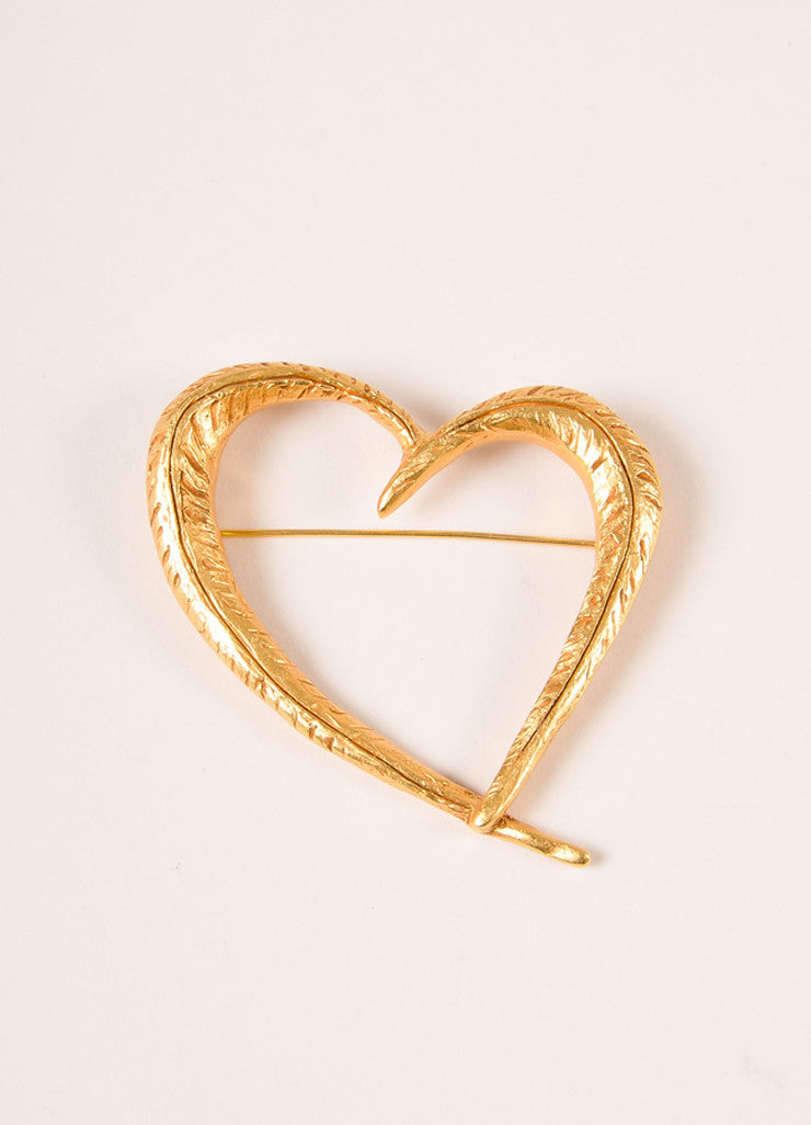 Christian Lacroix Gold Toned Textured Open Heart Pin Frontview