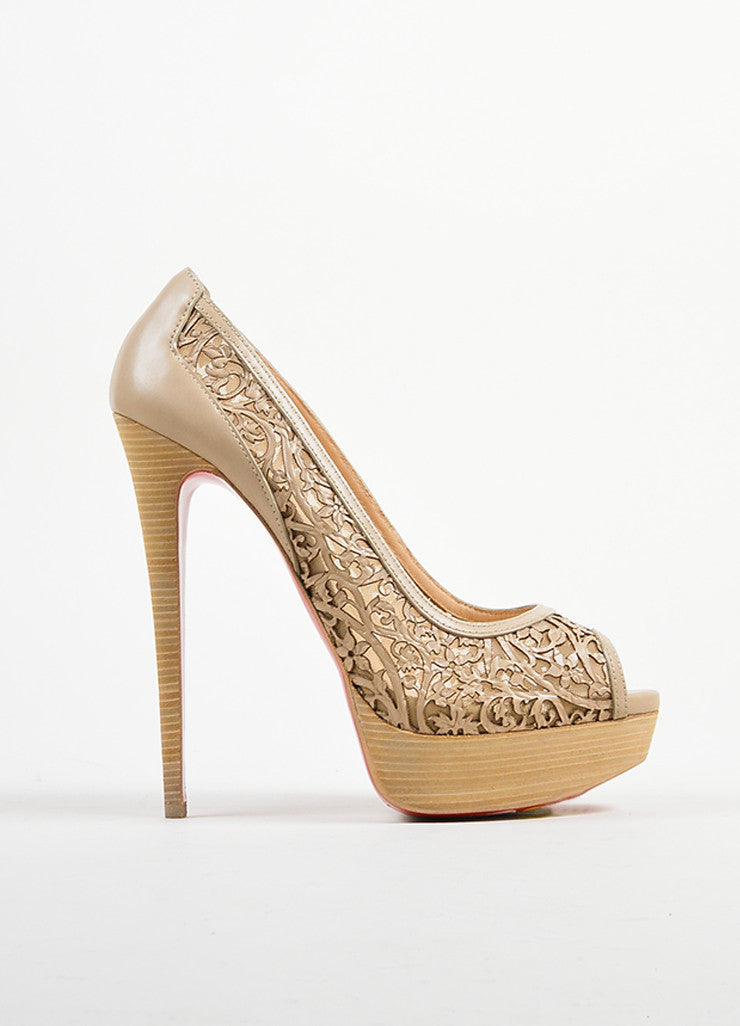 "Christian Louboutin Beige Leather ""Pampas Pump 150"" Laser Cut Pumps Sideview"