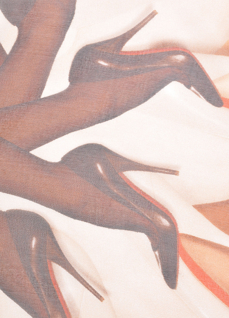 Christian Louboutin Nude, Brown, and Black Silk Leg High Heel Printed Sheer Scarf Detail 2