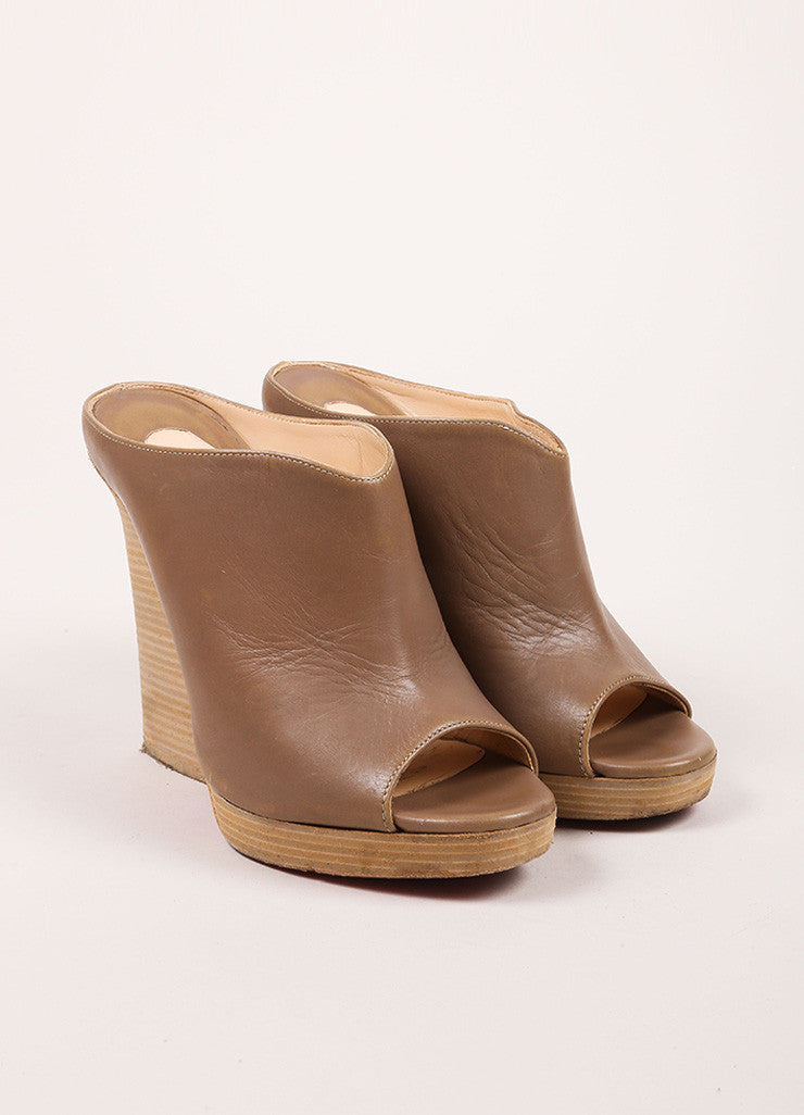 Christian Louboutin Taupe and Ash Brown Peep Toe Stacked Heel Leather Mules Frontview