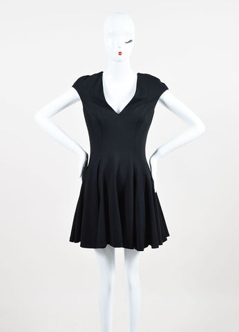 Black Cushnie Et Ochs Jersey Sleeveless Pleated Skater Dress Front 2