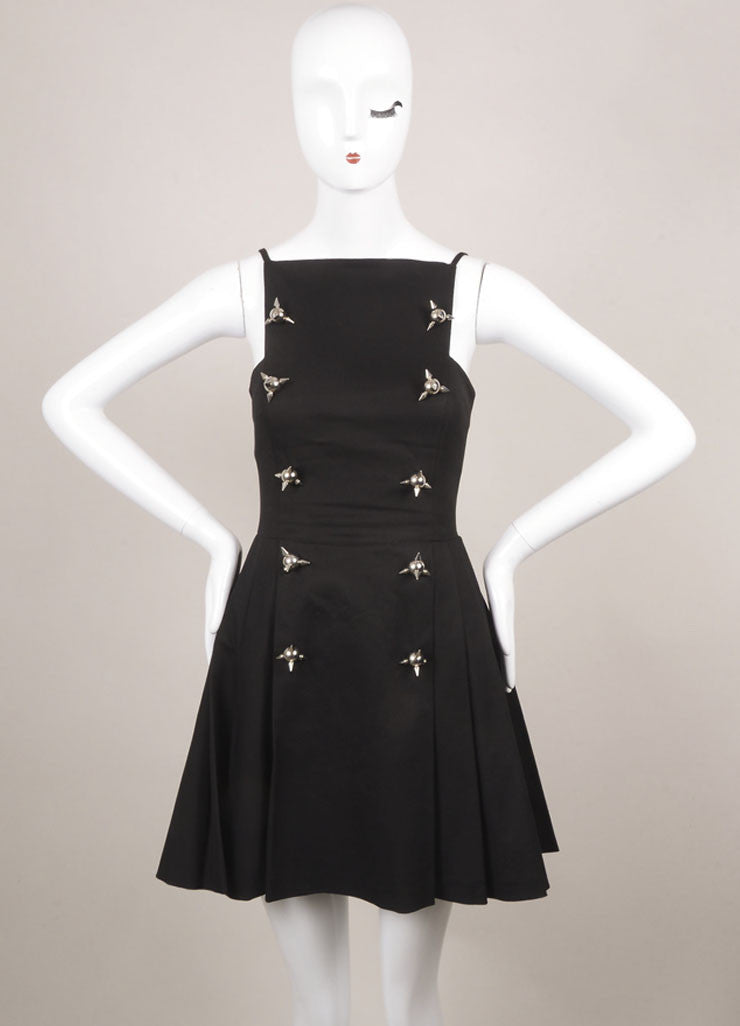 DSquared Black Cotton Spiked Sleeveless Fit and Flare Dress Frontview