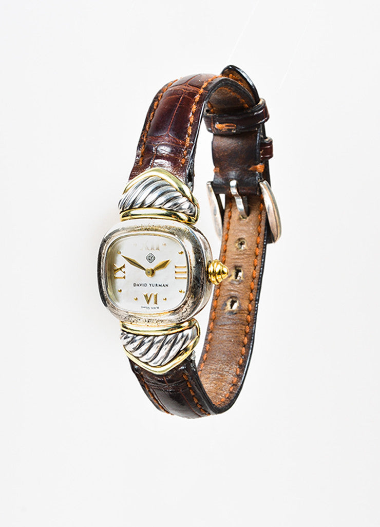 "David Yurman Sterling Silver, 14K Gold, and Brown Crocodile ""Renaissance"" Watch Sideview"