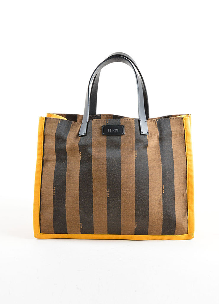 "Fendi Brown and Yellow Canvas Striped ""Pequin"" Small Shopping Tote Bag Frontview"