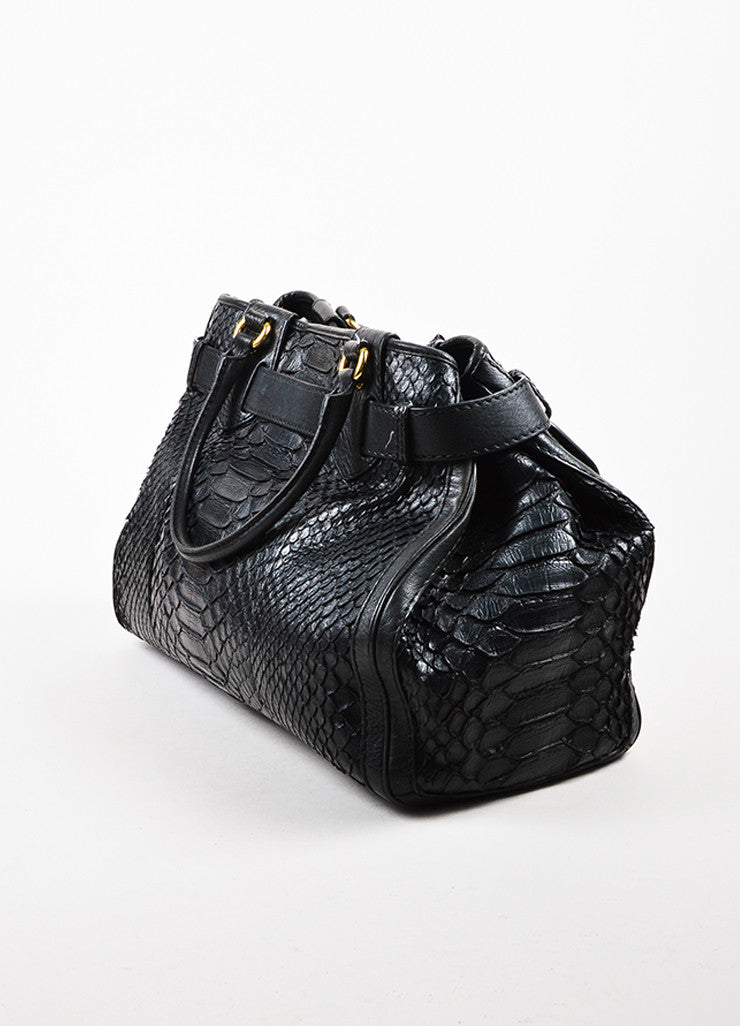 "Gucci Black Python Skin Gold Toned Hardware ""Large GG Running Tote"" Bag Sideview"