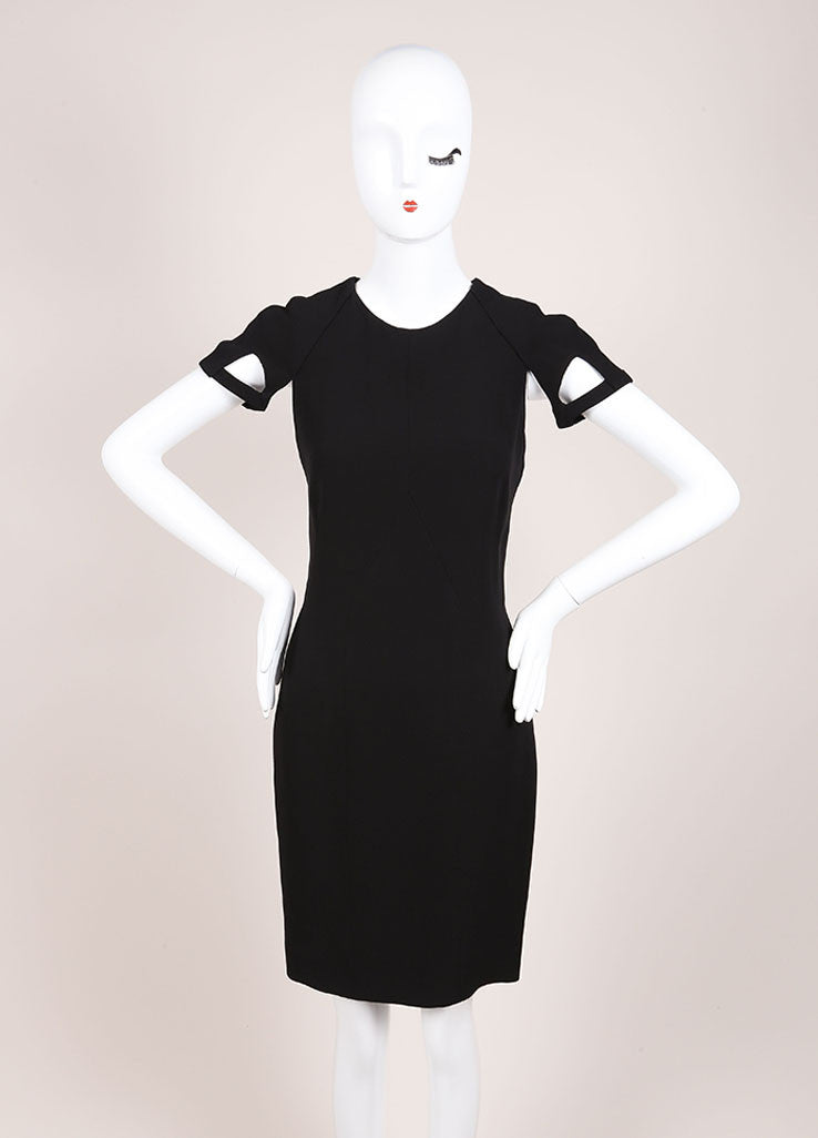 Gucci Black Silk Knit Cut Out Detail Short Sleeve Sheath Dress Frontview