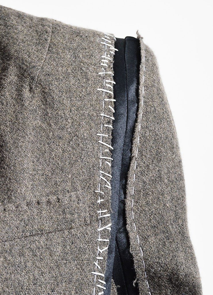 Brown, Black, and White Haider Ackermann Wool Patchwork Blazer Detail