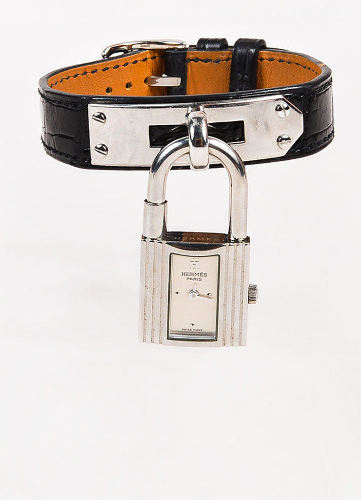 "Hermes Black Alligator Leather Quartz and Stainless Steel Padlock ""Kelly"" Watch Frontview"
