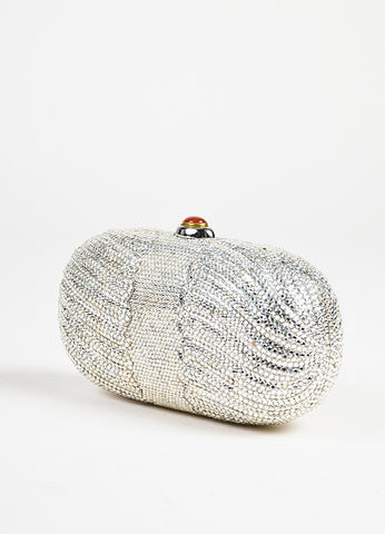 Judith Leiber Silver Crystal Embellished Red Push Lock Clutch Bag Sideview