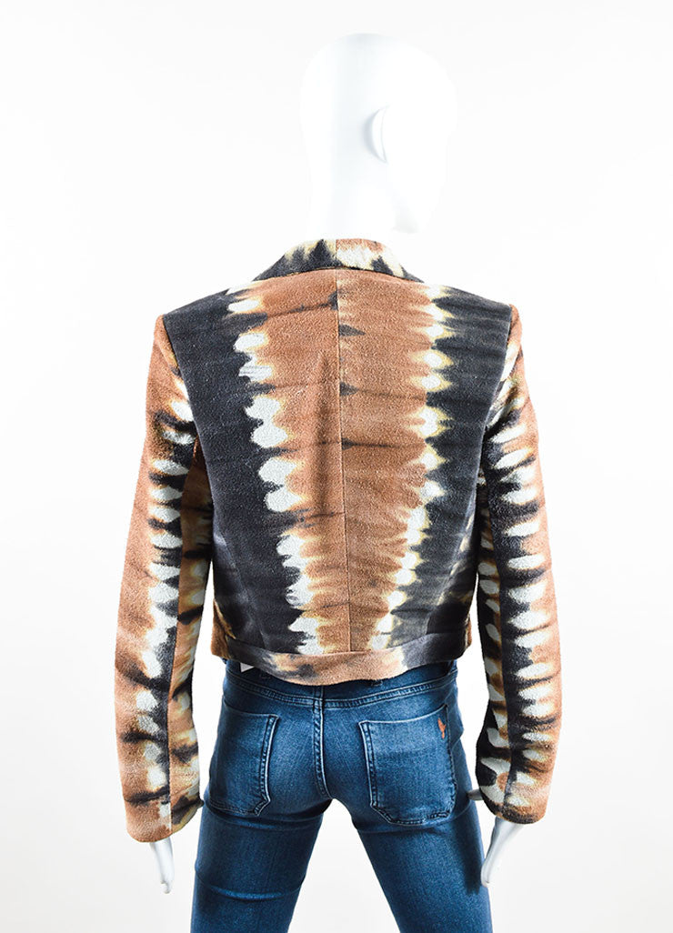 Kelly Wearstler Brown, Cream, and Black Suede Leather Tie Dye Jacket Backview