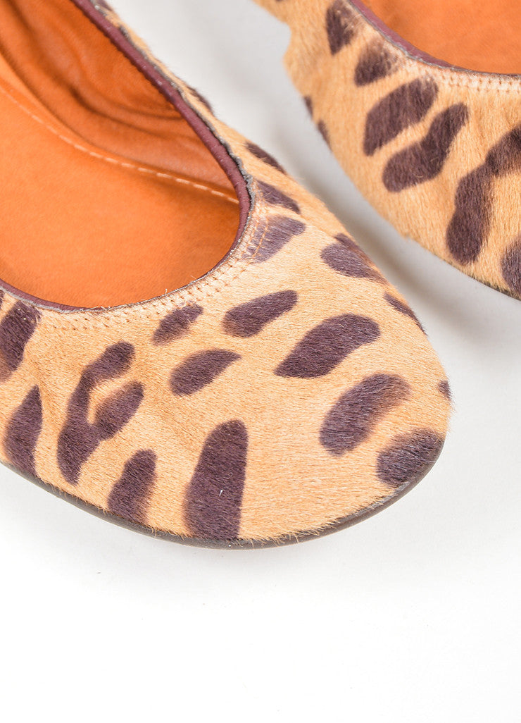 Tan and Brown Lanvin Pony Hair Leopard Round Toe Ballerina Flats Detail