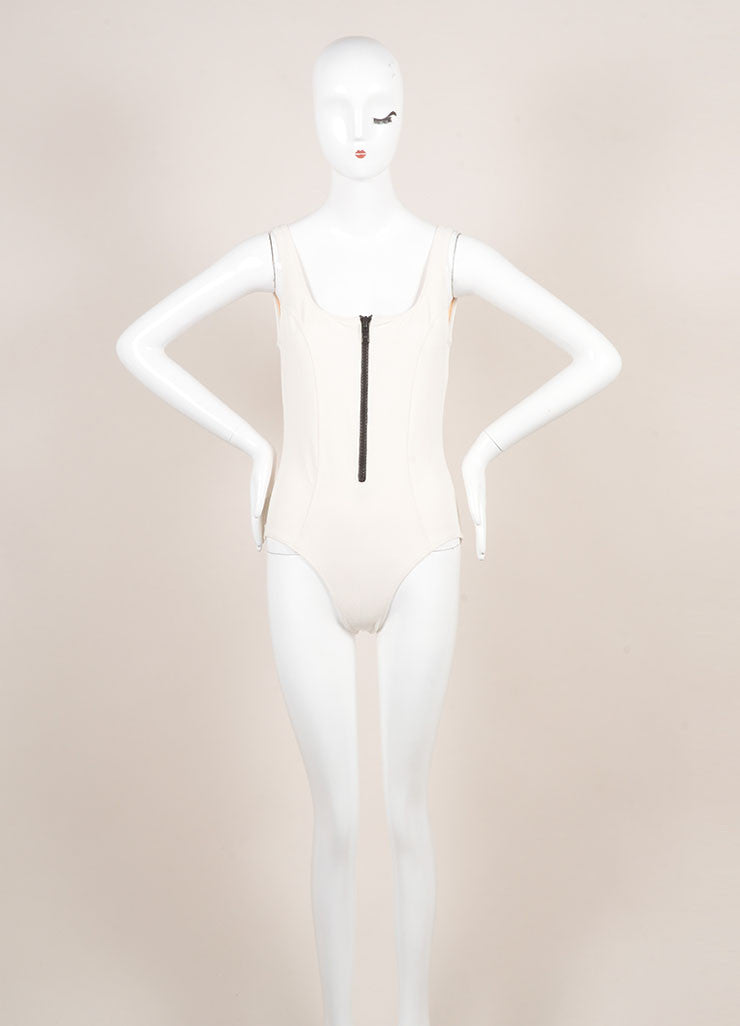 "Lisa Marie Ferndandez New With Tags Cream and Black Zip ""Jasmine"" Maillot Swimsuit Frontview"