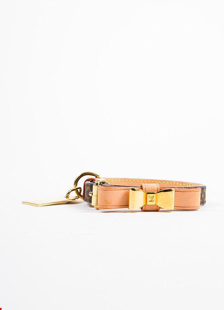 Brown Canvas Louis Vuitton Gold Tone Baxter Dog Collar Front