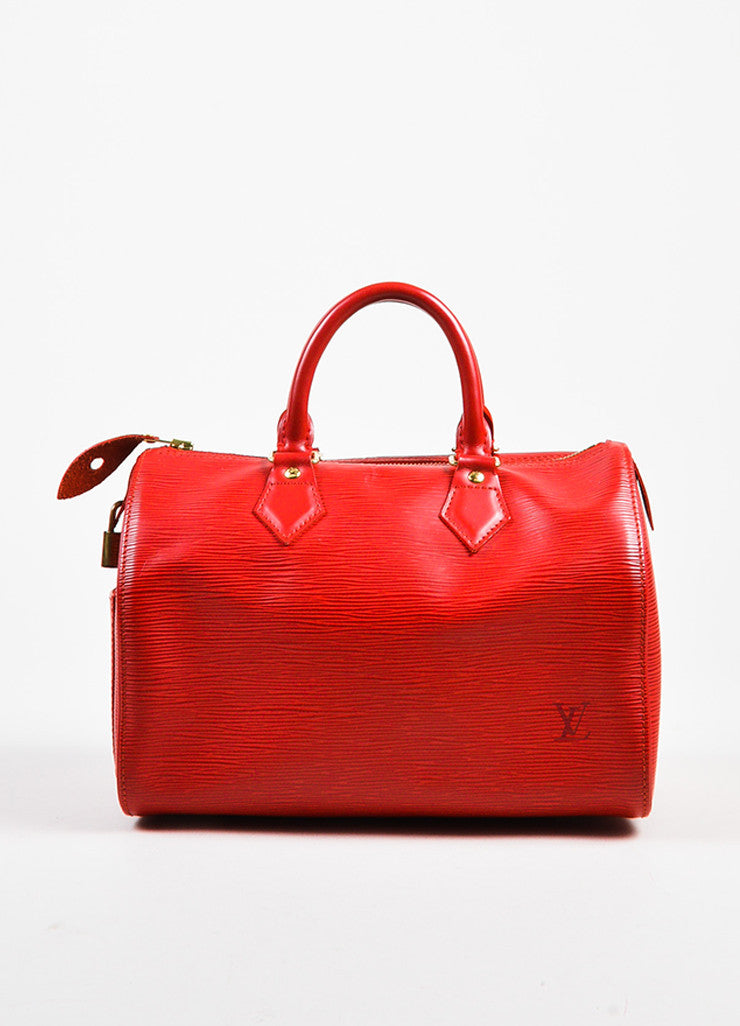 "Louis Vuitton Red Epi Leather ""Speedy 25"" Handbag Frontview"