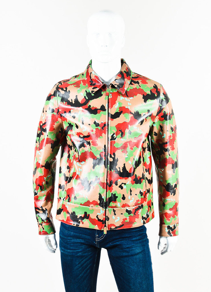 Men's Valentino Red and Tan Camouflage Printed Leather Zip Up Jacket Frontview 2