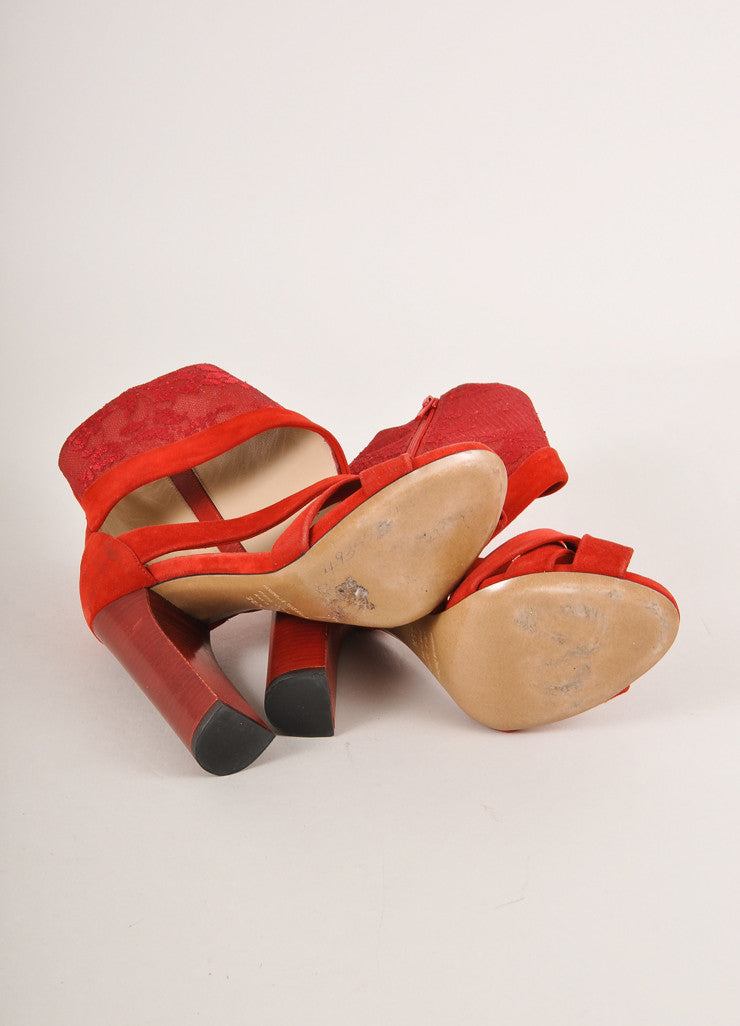 Nicholas Kirkwood for Erdem Red Suede and Lace Stacked Heel Sandals Outsoles