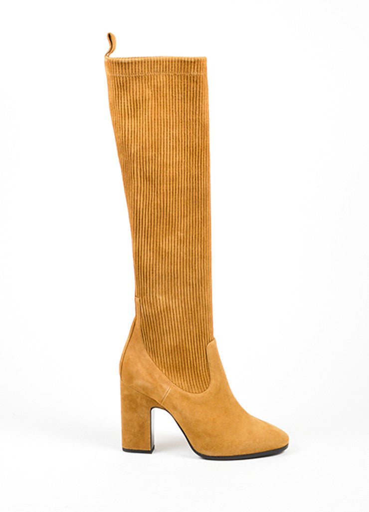 Tan	Pierre Hardy Suede Leather Ribbed Knee High Boots Sideview