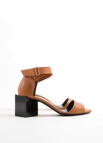 "Pierre Hardy Brown and Black Leather Block Heel ""Monolite"" Sandals Sideview"
