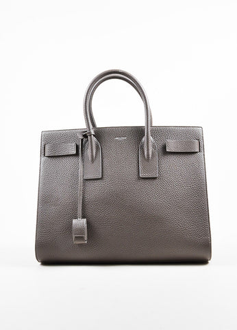 "Saint Laurent Taupe Grained Leather ""Classic Large Sac De Jour"" Tote Bag Frontview"