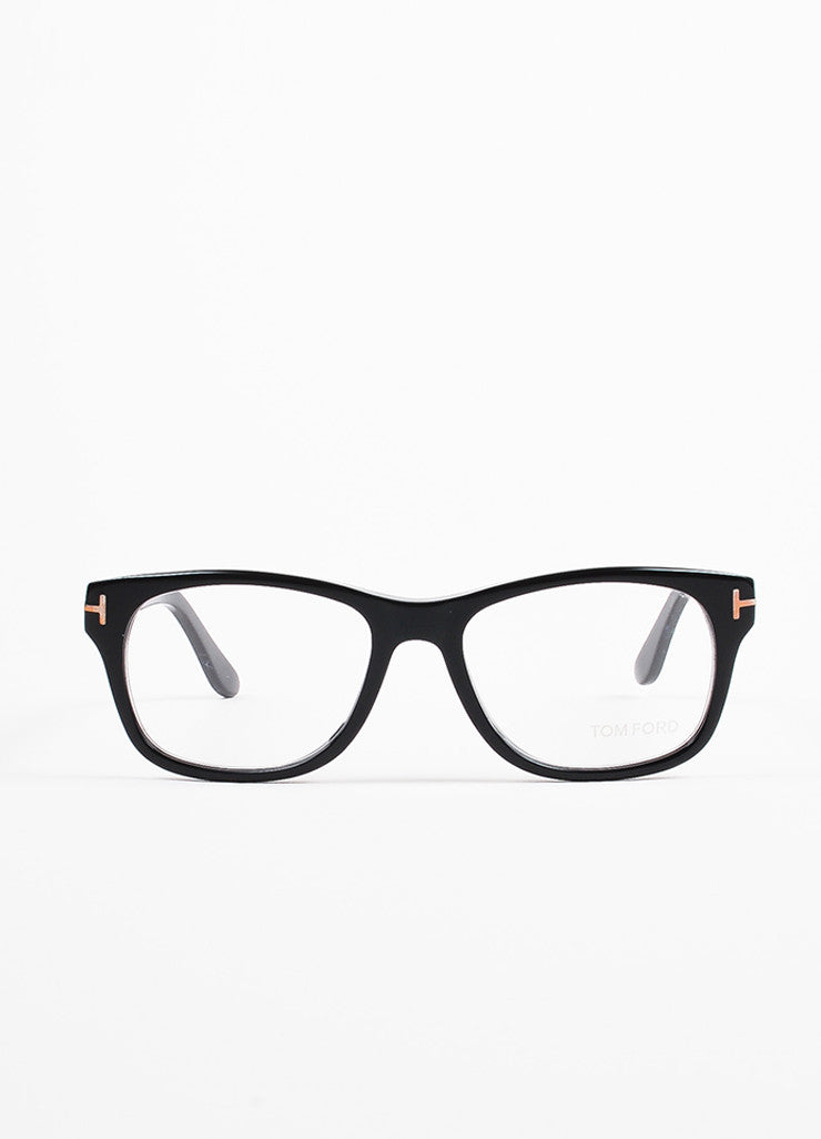 Tom Ford Black and Gold Toned Square Frame 'T' Accented Optical Eyeglasses Frontview