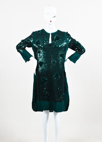 Green Silk Sequin and Rosette Embellished Long Sleeve Cocktail Dress Frontview