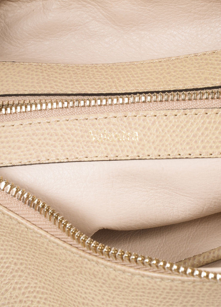 Valextra Beige Grain Leather Hobo Shoulder Bag Detail 2