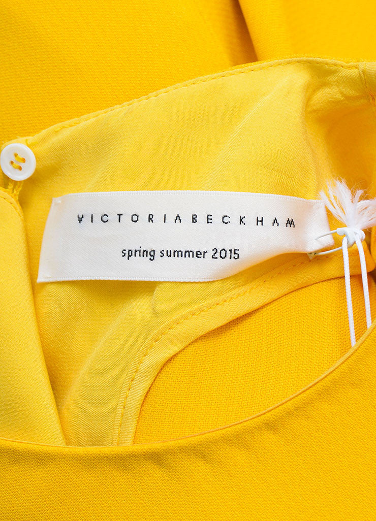 Canary Yellow Victoria Beckham Crepe Belted Sleeveless Swing Drape Dress Brand