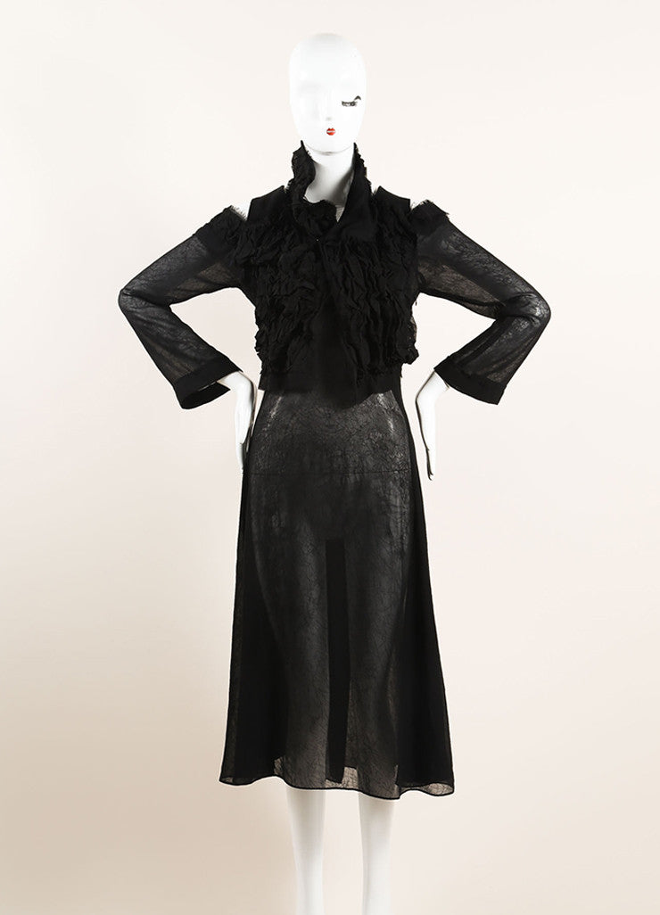 Yohji Yamamoto Black Sheer Cut Out Shoulder Ruffle Shrug Midi Dress Frontview