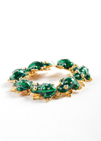 Kenneth Jay Lane Green and Gold Toned Enameled Frog Link Bracelet Sideview