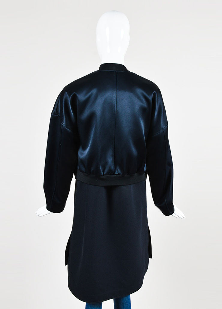 3.1 Phillip Navy Satin Double Layered Bomber Coat and Vest Backview