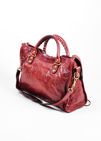 "Maroon Red Balenciaga Perforated Lambskin Leather ""Classic City"" Satchel Bag Sideview"