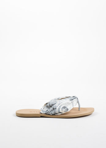 Balmain Grey and White Abstract Printed Leather Thong Strap Flat Sandals Sideview
