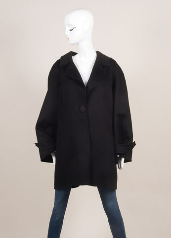 Bill Blass Black Wide Sleeve Woven Yoke Buttoned Coat SZ 14 Frontview