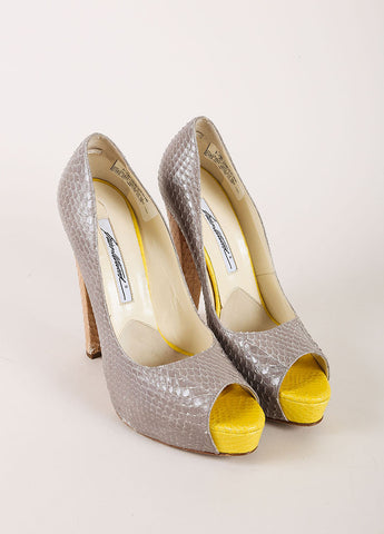Grey and Yellow Snakeskin Leather Peep Toe Platform Pumps