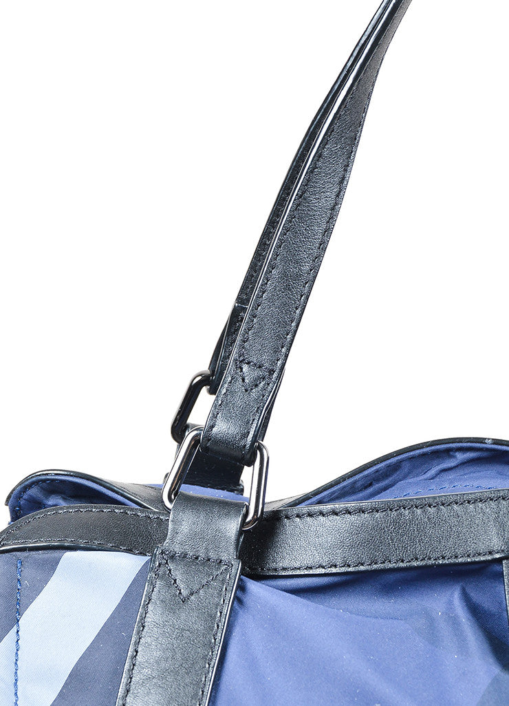 "Burberry Prorsum Blue Plaid ""Check Packable"" Tote Bag Detail 2"