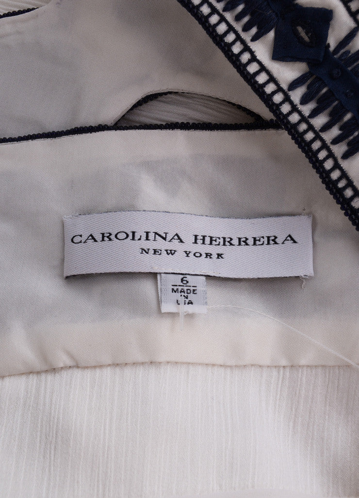 Carolina Herrera White and Navy Blue Embroidered Belted Sleeveless Dress Brand