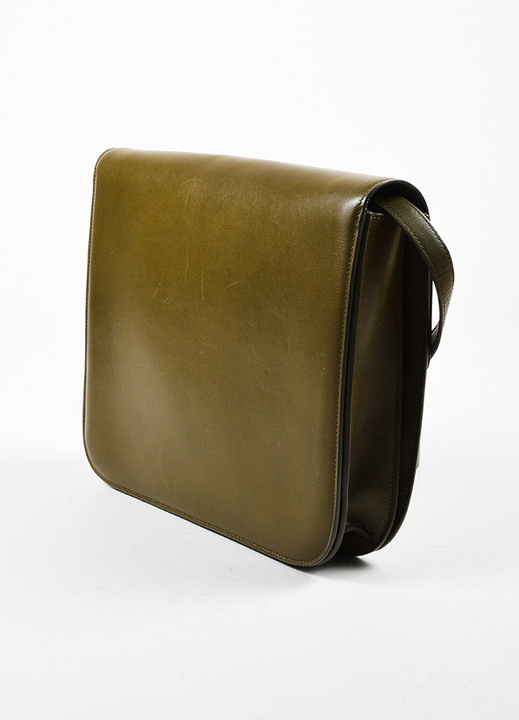 "Celine Olive Green Leather ""Large Box"" Shoulder Bag Sideview"
