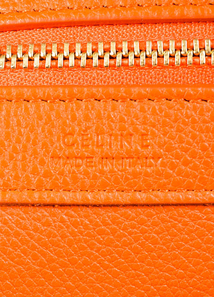 "Celine Orange Pebbled Leather Small ""Phantom Cabas"" Tie Tote Bag Brand"