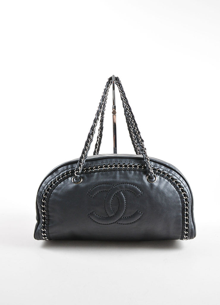 Chanel Black Calfskin Leather Luxe Ligne Bowler Camera Bag Frontview