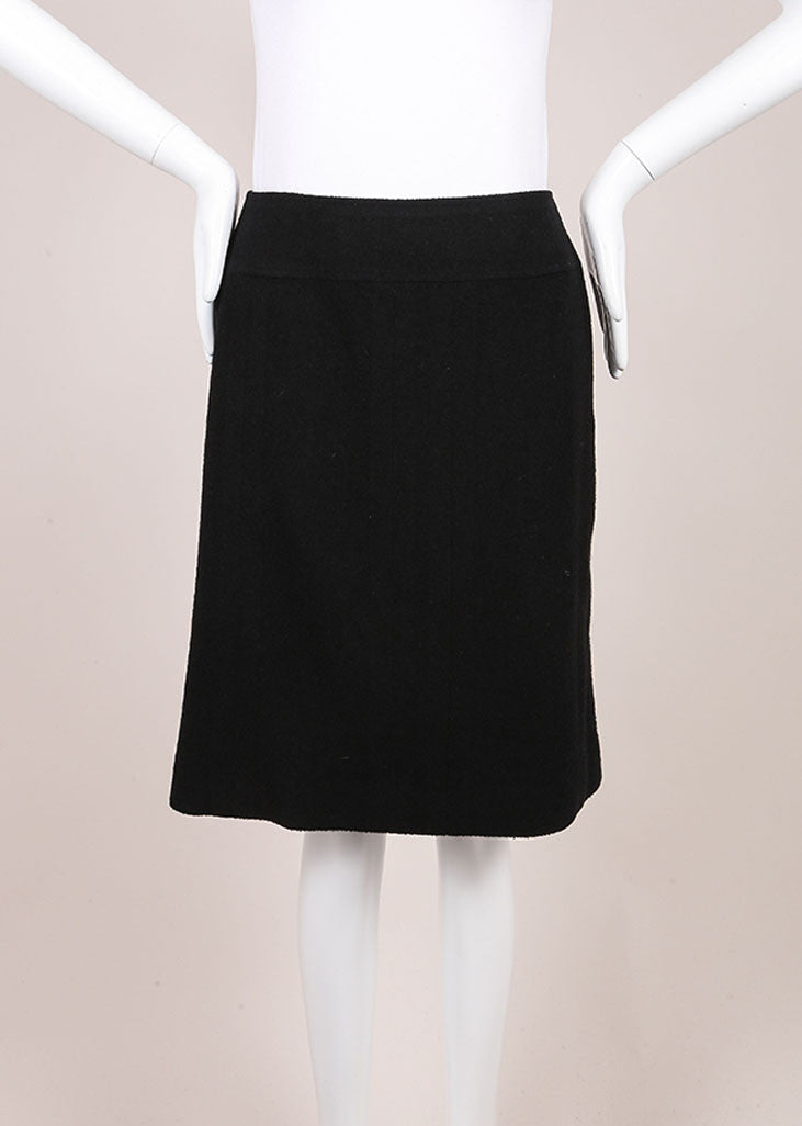 Chanel Black Wool Boucle Knit A-Line Skirt Frontview